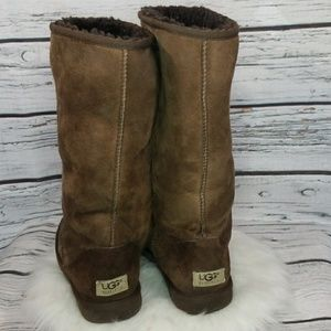 UGG brown tall furry sheepskin suede leather boots